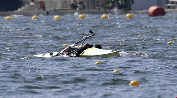 Serbia's boat capsized in the rowing and viewers couldn't believe it
