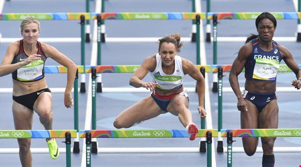 Jessica Ennis-Hill leads the heptathlon with a blistering start