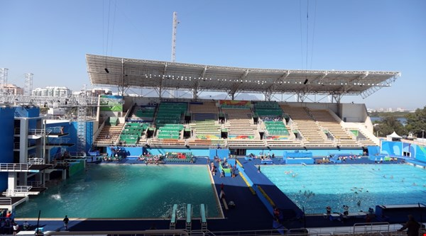 Rio Olympics: One of the green pools has been drained and finally looks like a normal colour again
