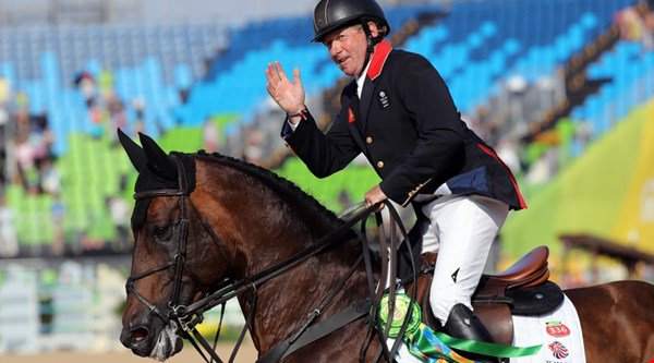 58-year-old Nick Skelton just came first in the individual showjumping